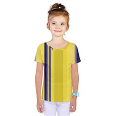 Yellow Blue Background Stripes Kids  One Piece Tee by Simbadda
