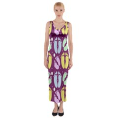 Baby Feet Patterned Backing Paper Pattern Fitted Maxi Dress by Simbadda