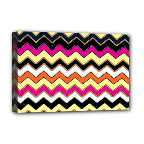 Colorful Chevron Pattern Stripes Pattern Deluxe Canvas 18  x 12   by Simbadda