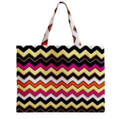 Colorful Chevron Pattern Stripes Pattern Zipper Mini Tote Bag by Simbadda
