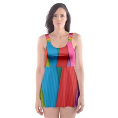 Colorful Lines Pattern Skater Dress Swimsuit by Simbadda