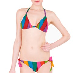 Colorful Lines Pattern Bikini Set