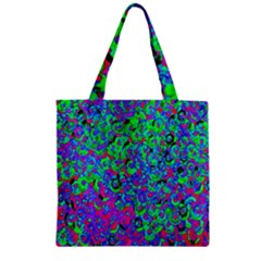 Green Purple Pink Background Zipper Grocery Tote Bag by Simbadda
