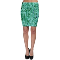 Green Background Pattern Bodycon Skirt