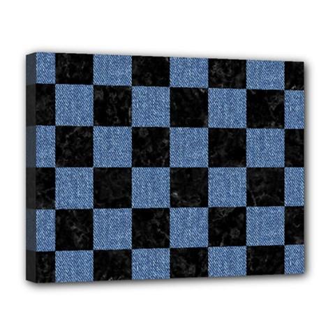 Square1 Black Marble & Blue Denim Canvas 14  X 11  (stretched) by trendistuff