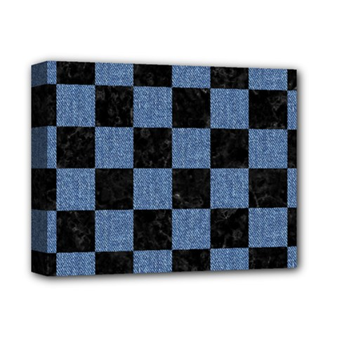 Square1 Black Marble & Blue Denim Deluxe Canvas 14  X 11  (stretched) by trendistuff