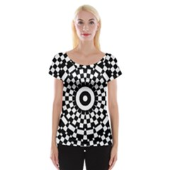 Checkered Black White Tile Mosaic Pattern Women s Cap Sleeve Top by CrypticFragmentsColors
