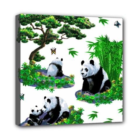 Cute Panda Cartoon Mini Canvas 8  X 8  by Simbadda