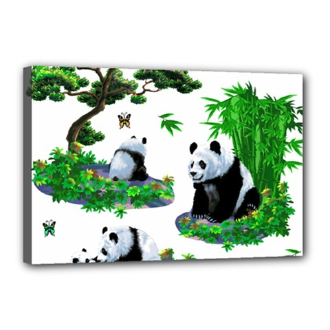 Cute Panda Cartoon Canvas 18  X 12  by Simbadda
