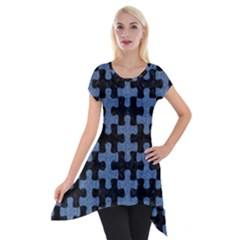 Puzzle1 Black Marble & Blue Denim Short Sleeve Side Drop Tunic by trendistuff