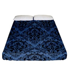 Damask1 Black Marble & Blue Denim (r) Fitted Sheet (california King Size) by trendistuff