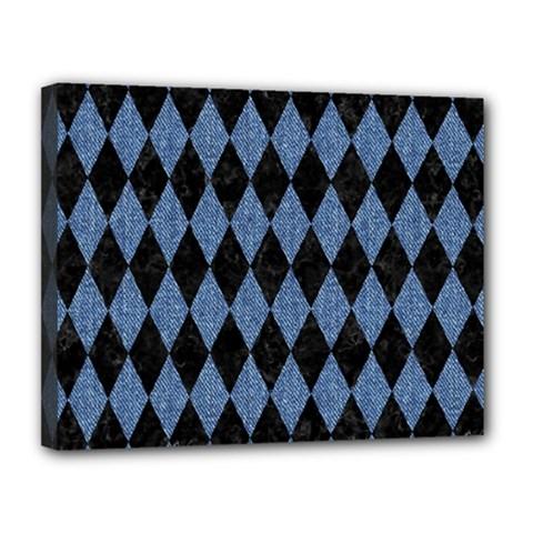 Diamond1 Black Marble & Blue Denim Canvas 14  X 11  (stretched) by trendistuff