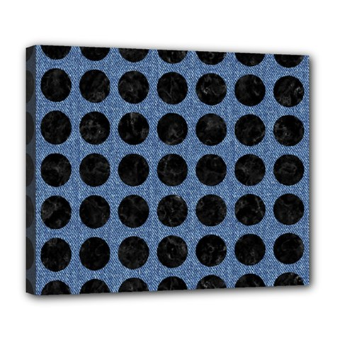 Circles1 Black Marble & Blue Denim (r) Deluxe Canvas 24  X 20  (stretched) by trendistuff