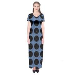 Circles1 Black Marble & Blue Denim (r) Short Sleeve Maxi Dress by trendistuff