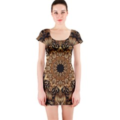 3d Fractal Art Short Sleeve Bodycon Dress