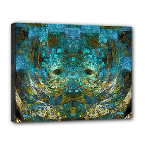 Blue Gold Modern Abstract Geometric Canvas 14  X 11  by CrypticFragmentsColors