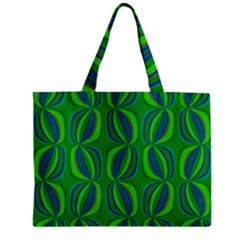 Blue Green Ethnic Print Pattern Zipper Mini Tote Bag by CrypticFragmentsColors