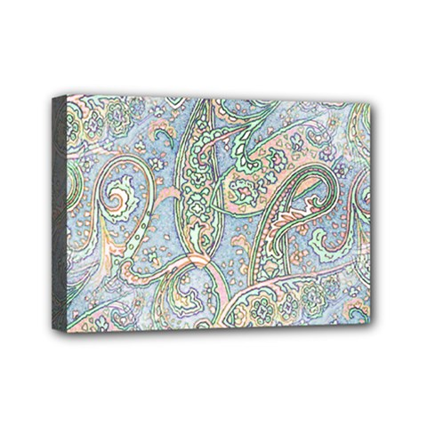 Paisley Boho Hippie Retro Fashion Print Pattern  Mini Canvas 7  X 5  by CrypticFragmentsColors