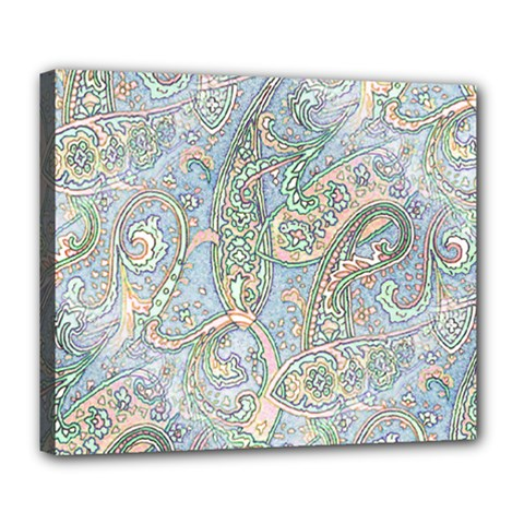 Paisley Boho Hippie Retro Fashion Print Pattern  Deluxe Canvas 24  X 20   by CrypticFragmentsColors
