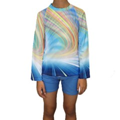 Glow Motion Lines Light Kids  Long Sleeve Swimwear by Alisyart