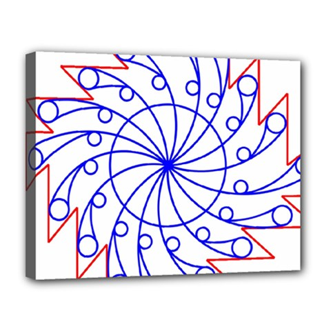Line  Red Blue Circle Canvas 14  X 11  by Alisyart