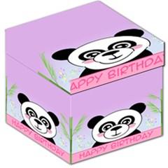 Panda Happy Birthday Pink Face Smile Animals Flower Purple Green Storage Stool 12   by Alisyart