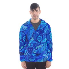 Arcturian Calming Grid   Hooded Wind Breaker (men) by tealswan