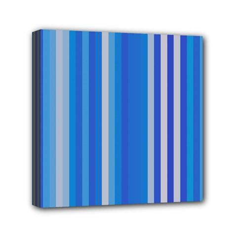 Color Stripes Blue White Pattern Mini Canvas 6  X 6  by Simbadda