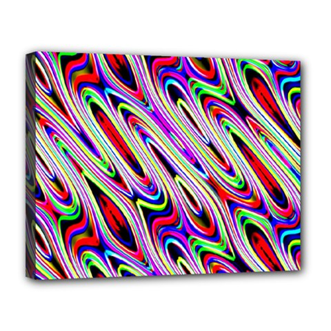 Multi Color Wave Abstract Pattern Canvas 14  X 11  by Simbadda