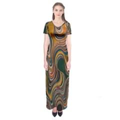 Swirl Colour Design Color Texture Short Sleeve Maxi Dress by Simbadda