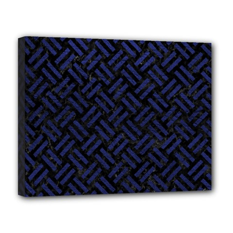 Woven2 Black Marble & Blue Leather Canvas 14  X 11  (stretched) by trendistuff
