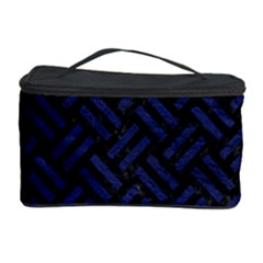 Woven2 Black Marble & Blue Leather Cosmetic Storage Case by trendistuff