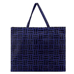 Woven1 Black Marble & Blue Leather (r) Zipper Large Tote Bag by trendistuff