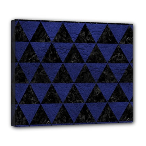 Triangle3 Black Marble & Blue Leather Deluxe Canvas 24  X 20  (stretched) by trendistuff