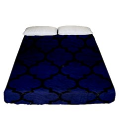 Tile1 Black Marble & Blue Leather (r) Fitted Sheet (queen Size) by trendistuff