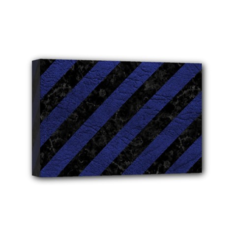Stripes3 Black Marble & Blue Leather Mini Canvas 6  X 4  (stretched) by trendistuff
