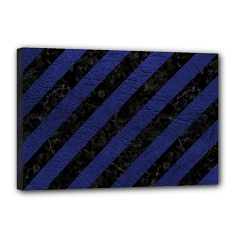 Stripes3 Black Marble & Blue Leather Canvas 18  X 12  (stretched) by trendistuff