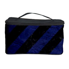 Stripes3 Black Marble & Blue Leather Cosmetic Storage Case by trendistuff