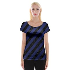 Stripes3 Black Marble & Blue Leather Cap Sleeve Top by trendistuff