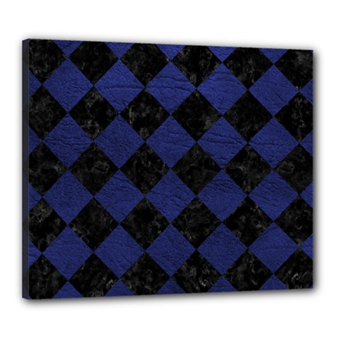 Square2 Black Marble & Blue Leather Canvas 24  X 20  (stretched) by trendistuff