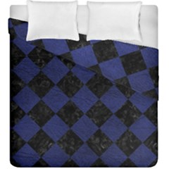 Square2 Black Marble & Blue Leather Duvet Cover Double Side (king Size) by trendistuff