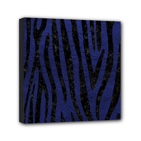 Skin4 Black Marble & Blue Leather Mini Canvas 6  X 6  (stretched) by trendistuff