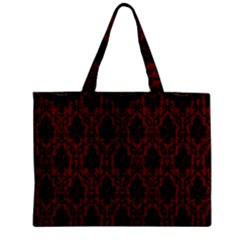 Elegant Black And Red Damask Antique Vintage Victorian Lace Style Zipper Mini Tote Bag by yoursparklingshop