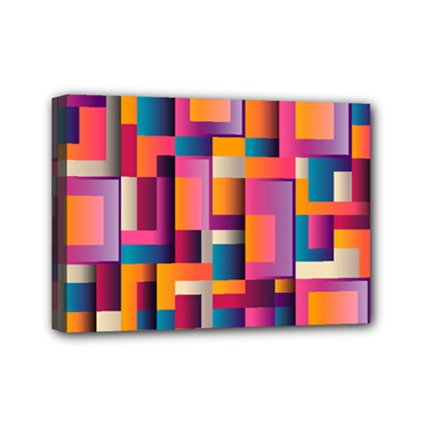 Abstract Background Geometry Blocks Mini Canvas 7  X 5  by Simbadda