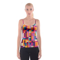 Abstract Background Geometry Blocks Spaghetti Strap Top by Simbadda