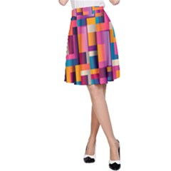 Abstract Background Geometry Blocks A Line Skirt by Simbadda