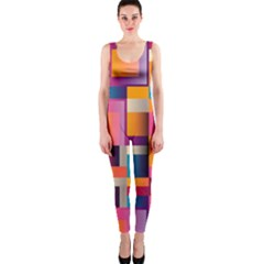 Abstract Background Geometry Blocks Onepiece Catsuit by Simbadda