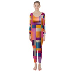 Abstract Background Geometry Blocks Long Sleeve Catsuit by Simbadda
