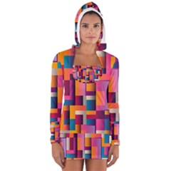 Abstract Background Geometry Blocks Women s Long Sleeve Hooded T-shirt by Simbadda