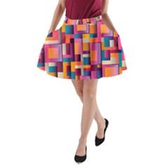 Abstract Background Geometry Blocks A Line Pocket Skirt by Simbadda